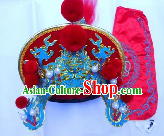 Traditional Chinese Sichuan Opera Red Hats Hair Accessories Peking Opera Headwear