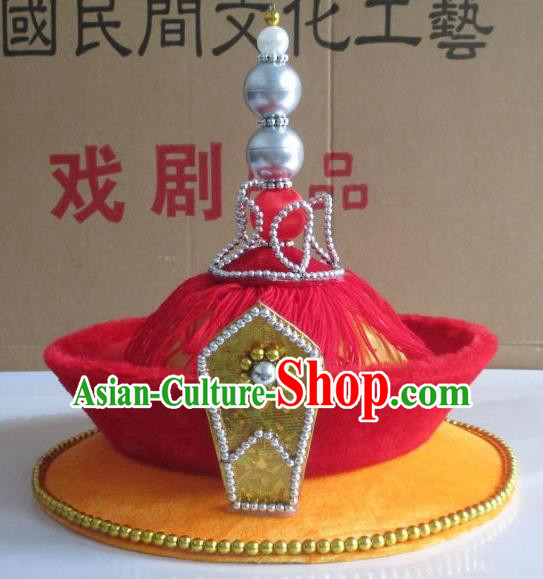 Traditional Chinese Beijing Opera Qing Dynasty Emperor Hats Hair Accessories Peking Opera Headwear
