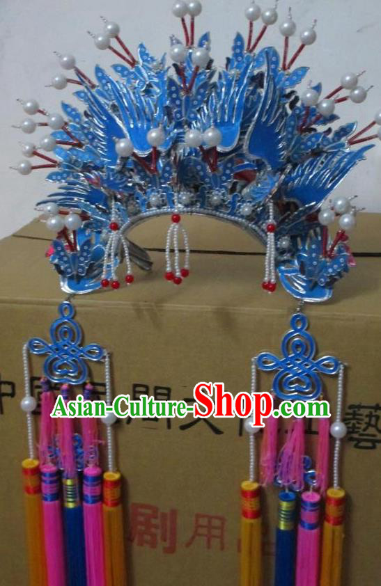Traditional Chinese Beijing Opera Hair Accessories Princess Blue Phoenix Coronet Peking Opera Actress Headwear