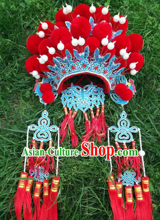 Traditional Chinese Beijing Opera Bride Red Venonat Phoenix Coronet Peking Opera Actress Headwear