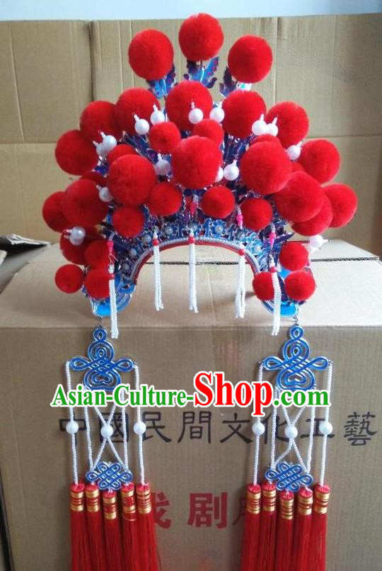Traditional Chinese Beijing Opera Bride Red Phoenix Coronet Peking Opera Actress Headwear