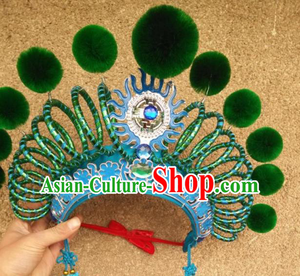 Traditional Chinese Beijing Opera Martial Female Green Phoenix Coronet Peking Opera Actress Headwear