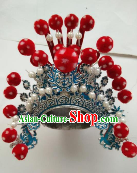 Traditional Chinese Beijing Opera Takefu Red Venonat Hats Peking Opera Warrior Headwear