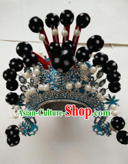 Traditional Chinese Beijing Opera Takefu Black Venonat Hats Peking Opera Warrior Headwear
