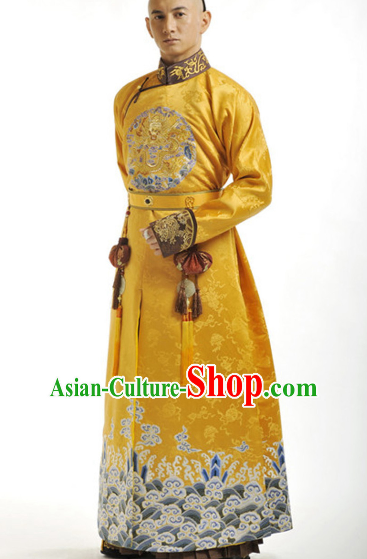 Traditional Chinese Qing Dynasty Manchu Prince Emperor Robe Clothing for Men