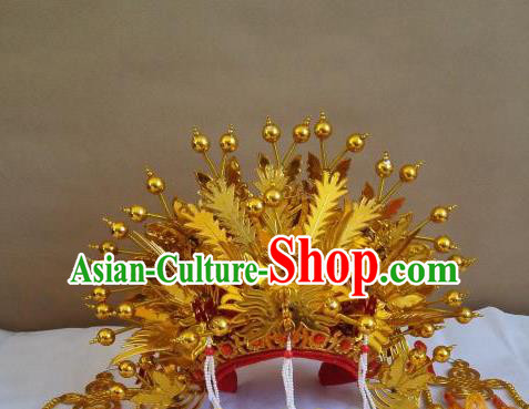 Traditional Chinese Beijing Opera Diva Handmade Golden Phoenix Coronet Peking Opera Actress Hats Headwear