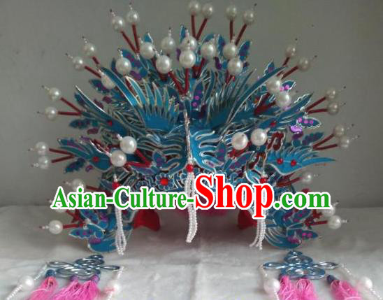 Traditional Chinese Beijing Opera Diva Wedding Phoenix Coronet Hair Accessories Peking Opera Actress Hats Headwear