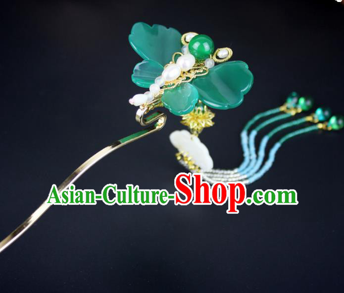 Chinese Ancient Handmade Hair Accessories Classical Hairpins Jade Butterfly Tassel Hair Clips for Women
