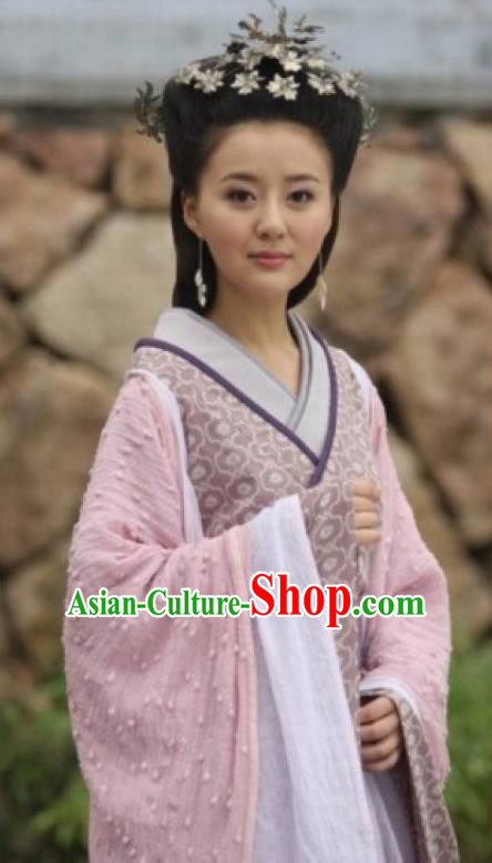 Ancient Traditional Chinese Han Dynasty Dai Kingdom Queen Replica Costume Hanfu Dress for Women
