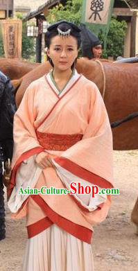 Ancient Traditional Chinese Han Dynasty Dai Kingdom Queen Consort Replica Costume Hanfu Dress for Women