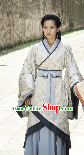 Ancient Traditional Chinese Han Dynasty Queen Zhang Yan Replica Costume Hanfu Dress for Women
