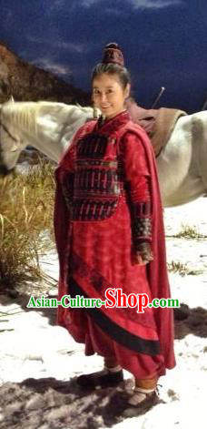 Ancient Traditional Chinese Eastern Han Dynasty Empress Yin Lihua Armor Replica Costume for Women