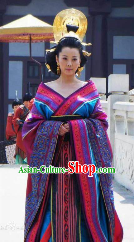 Ancient Chinese Han Dynasty Empress Dowager Wang Zhengjun Hanfu Dress Replica Costume for Women