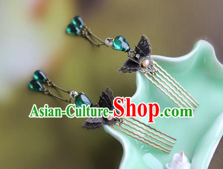 Chinese Ancient Handmade Hair Accessories Classical Green Crystal Tassel Hairpins Butterfly Hair Comb for Women