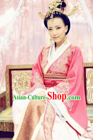 Chinese Ancient Wei and Jin Dynasties Imperial Concubine Li Embroidered Hanfu Dress Replica Costume for Women