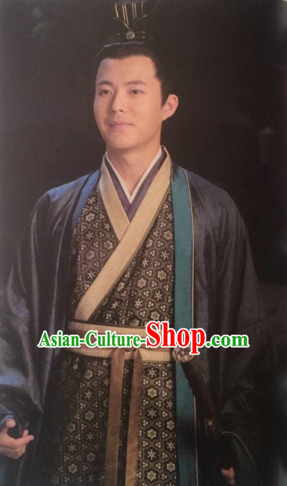 Traditional Chinese Wei and Jin Dynasties Swordsman Wang Shu Replica Costume for Men
