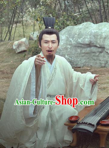 Traditional Chinese Wei and Jin Dynasties Calligrapher Wang Kuang Replica Costume for Men