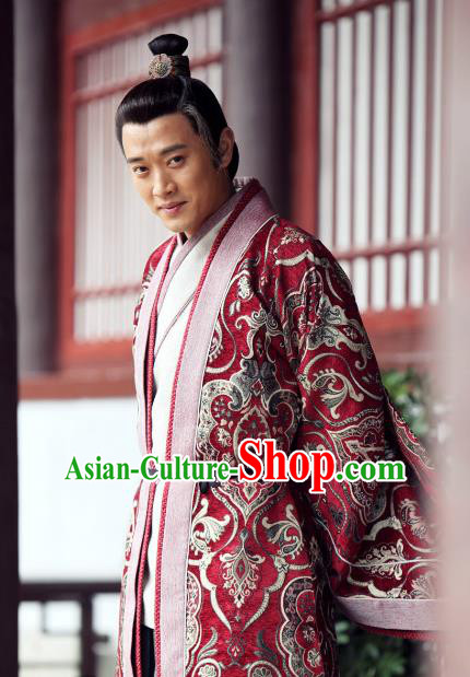 Chinese Ancient Warring States Period Wei Kingdom Royal Highness Zhong Hao Replica Costume for Men