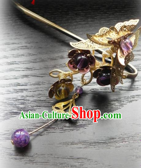 Chinese Handmade Ancient Golden Butterfly Hairpins Hair Accessories Classical Hanfu Hair Clip for Women