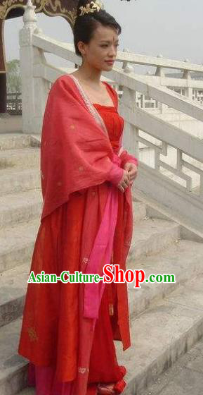 Chinese Ancient Tang Dynasty Swordsman Female Assassin Hong Fu Dress Replica Costume for Women