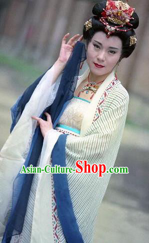 Chinese Ancient Tang Dynasty Imperial Concubine Dou Hanfu Dress Replica Costume for Women