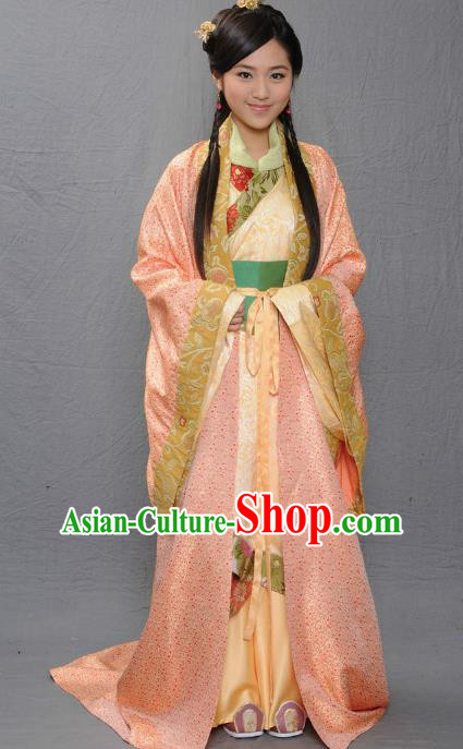 Ancient Chinese Warring States Period Qi State Princess Royal Hanfu Dress Replica Costume for Women