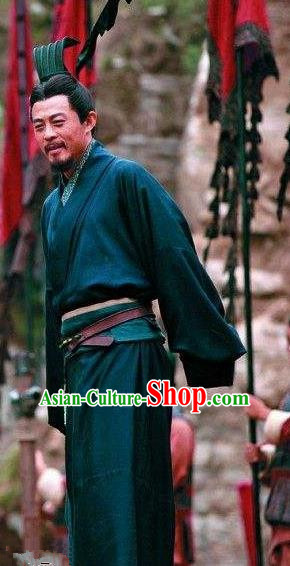 Chinese Ancient Three Kingdoms Period Shu State King Liu Bei Historical Costume for Men