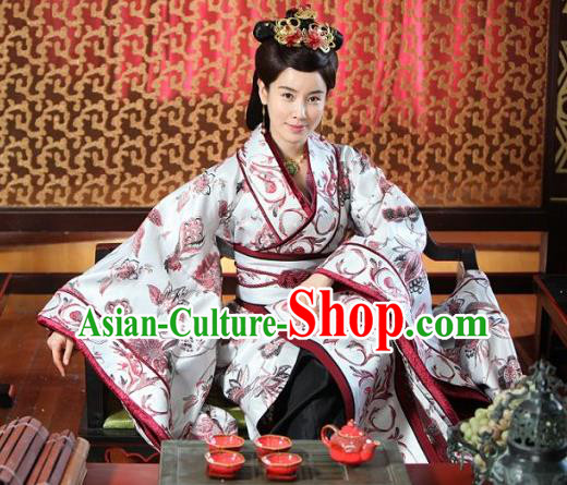 Chinese Ancient Spring and Autumn Period Wei State Empress Hanfu Dress Palace Queen Replica Costume for Women