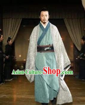 Chinese Ancient Warring States Period Tactician Strategist Guiguzi Historical Costume for Men