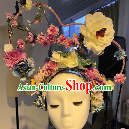 Top Grade Handmade Hair Accessories Flowers Hair Crown Halloween Stage Performance Catwalks Headwear for Women