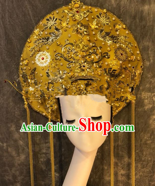 Top Grade Golden Deluxe Palace Hair Accessories China Queen Headdress Halloween Stage Performance Headwear for Women