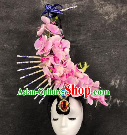 Top Grade China Ancient Pink Flowers Hair Accessories Palace Hair Crown Stage Performance Headdress for Women