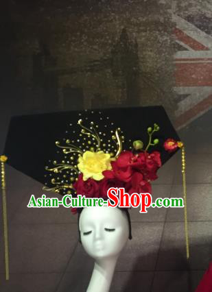 Top Grade China Catwalks Hair Accessories Qing Dynasty Red Flowers Headwear Stage Performance Headdress for Women
