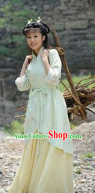 Traditional China Warring States Period Young Lady Replica Village Women Costume