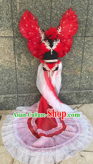 Top Grade Children Stage Performance Costume Modern Dance Catwalks Swimsuit Red Feather Wings for Kids