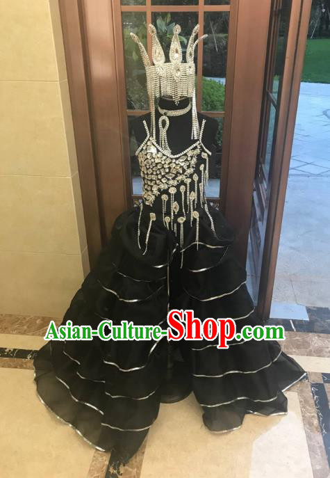 Top Grade Children Stage Performance Costume Catwalks Queen Black Full Dress and Headwear for Kids