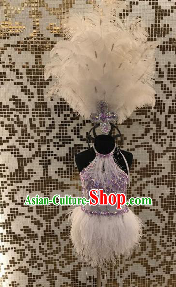 Top Grade Children Stage Performance Costume Catwalks Bikini and Feather Headdress for Kids