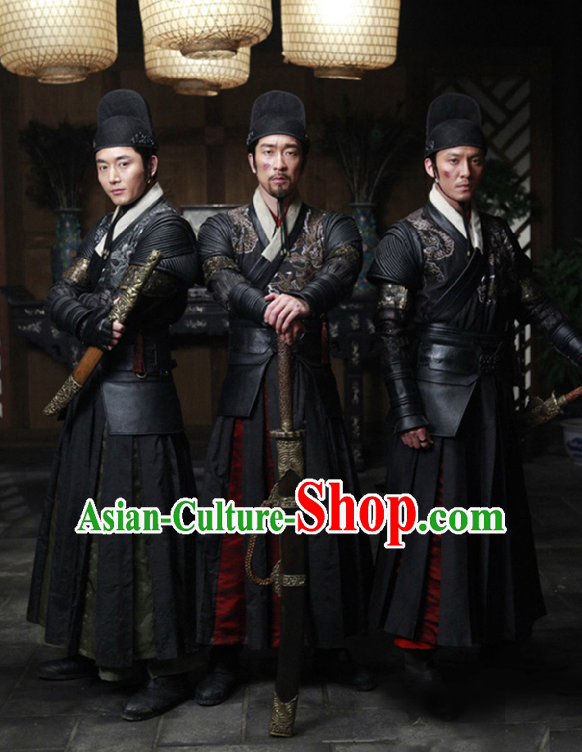 Asian Chinese Imperial Guards Costumes of the Ming Dynasty Knight Fighter Embroidered Costume Complete Set for Men or Women