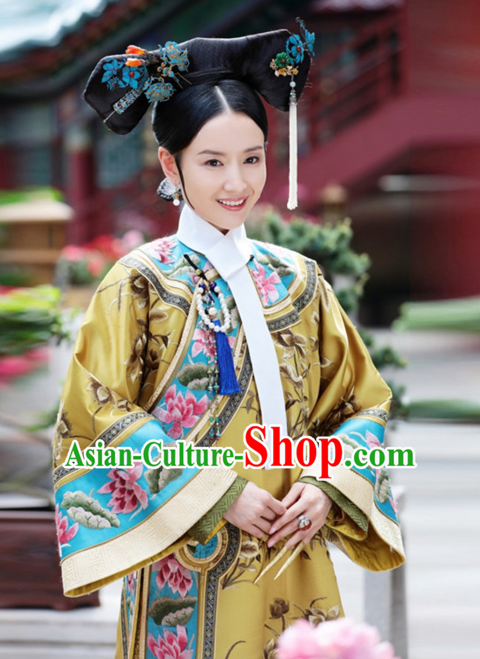 Ancient Chinese Qing Dynasty Manchu Imperial Costumes Empress Clothing