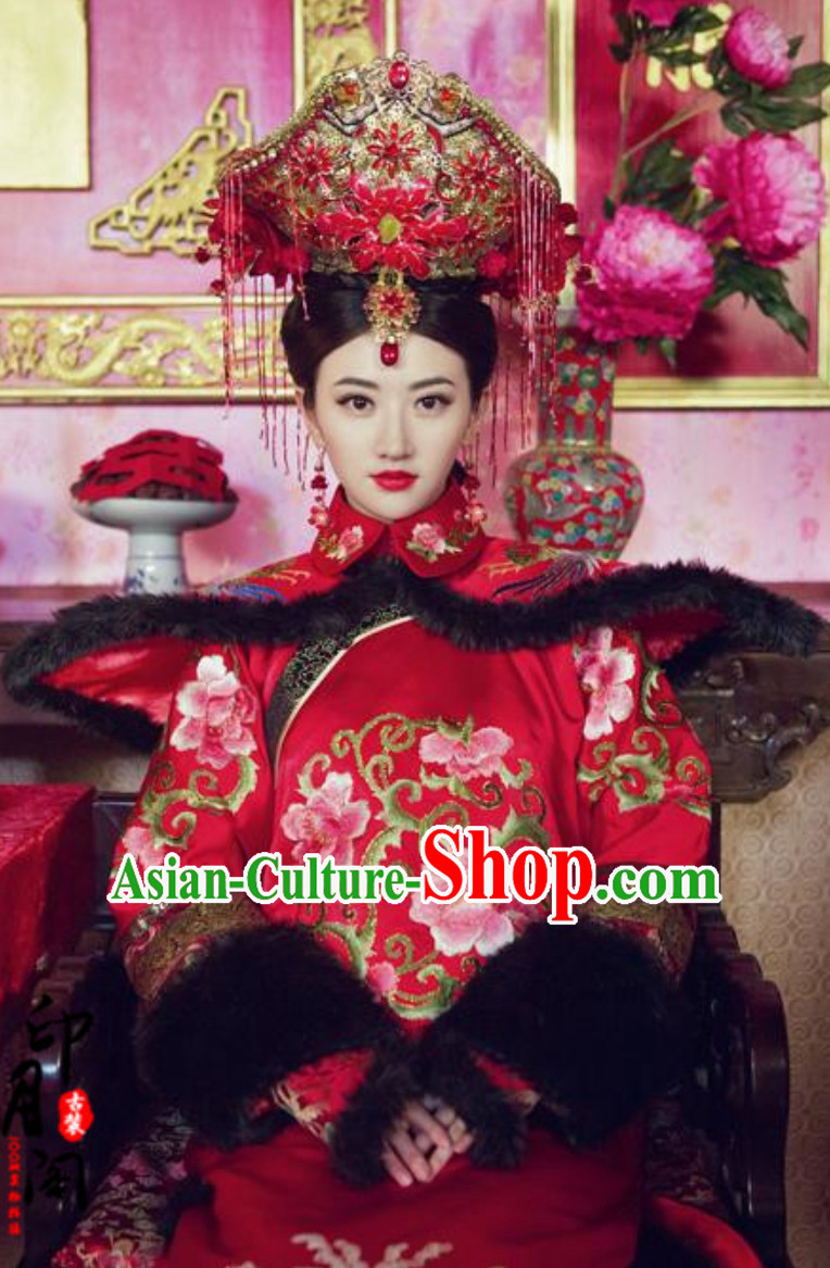 Ancient Chinese Qing Dynasty Manchu Imperial Dress Royal Costumes Empress Clothing