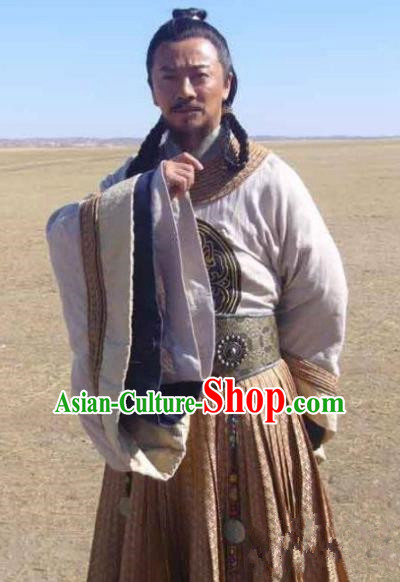 Ancient Chinese Yuan Dynasty Mongol Emperor Kublai Khan Replica Costumes for Men