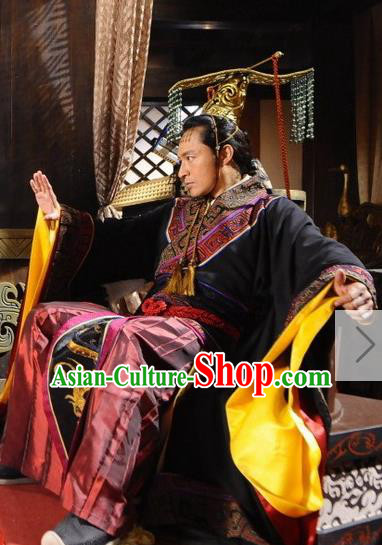 Ancient Chinese Spring and Autumn Period Wu State King Fu Chai Imperial Robe Replica Costumes for Men