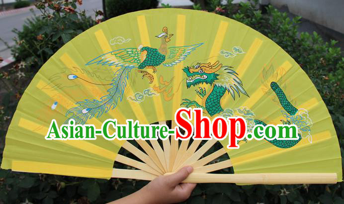 Chinese Handmade Folk Dance Folding Fans Yangko Dance Printing Dragon and Phoenix Tai Chi Yellow Fan for Women