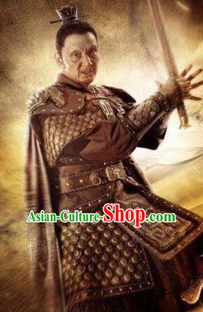 Ancient Chinese Han Dynasty Military Officer General Liu Zhu Replica Costume for Men