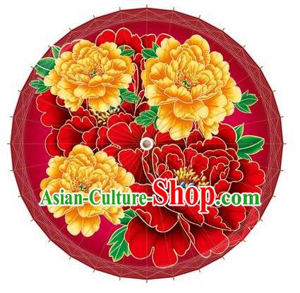 Chinese Traditional Craft Paper Umbrella Folk Dance Printing Peony Red Oil-paper Umbrella Handmade Umbrella