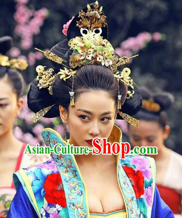 Traditional Chinese Ancient Palace Lady Hair Accessories Tassel Phoenix Coronet Hairpins Complete Set for Women