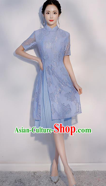 Chinese Traditional Embroidered Blue Mandarin Qipao Dress National Costume Short Cheongsam for Women