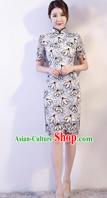 Chinese Traditional Lace Mandarin Qipao Dress National Costume Tang Suit Short Cheongsam for Women