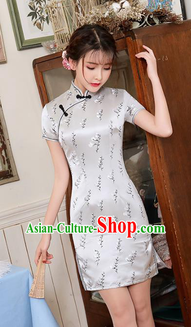 Chinese Traditional Tang Suit Grey Silk Short Qipao Dress National Costume Mandarin Cheongsam for Women