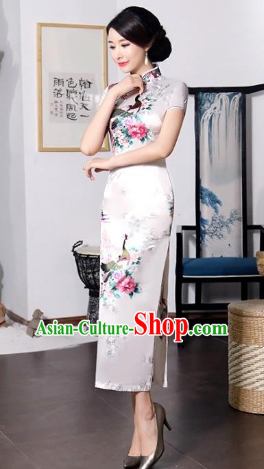 Chinese Traditional Printing Peacock Mandarin Qipao Dress National Costume Tang Suit White Cheongsam for Women